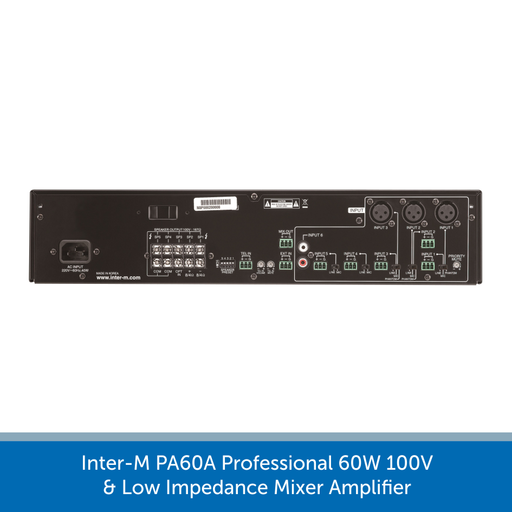 Showing the back of a Inter-M PA60A Professional 60W 100V & Low Impedance Mixer Amplifier