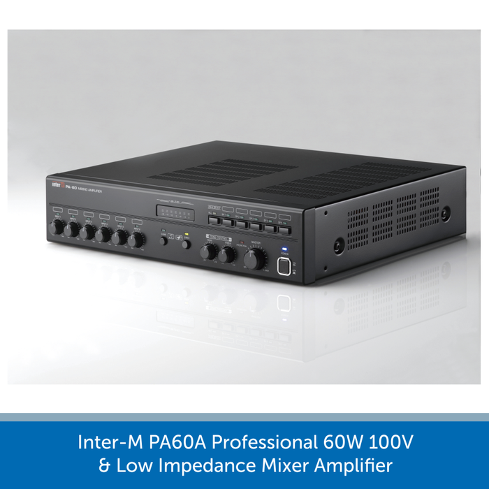 Side view of a Inter-M PA60A Professional 60W 100V & Low Impedance Mixer Amplifier