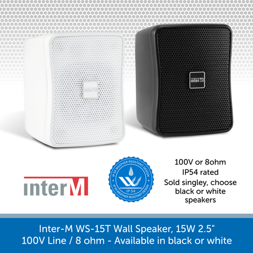 Inter-M WS15T Compact Wall Speakers for Background Music and Voice, IP54 Rated, 100V /8 Ohm