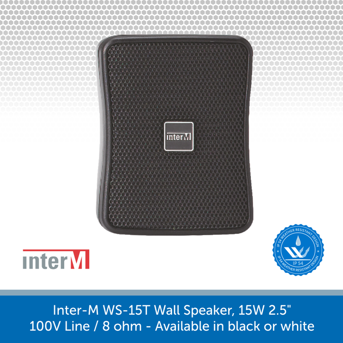Inter-M WS15T-BK Compact Wall Speaker in Black perfect for Background Music and Voice, IP54 Rated