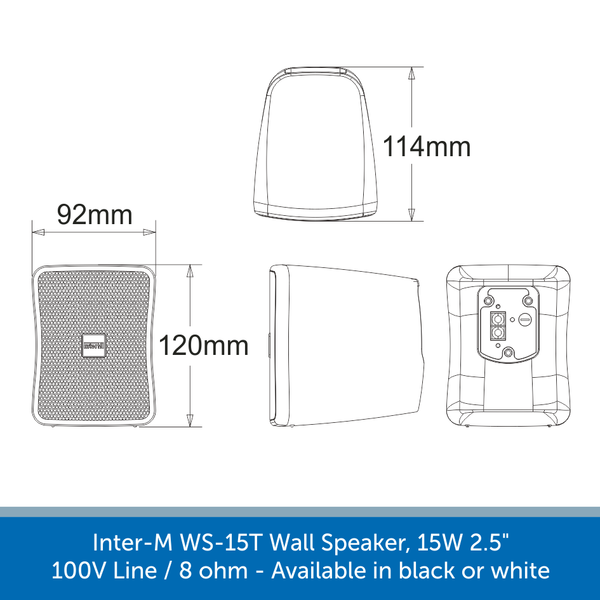 Dimensions for the Inter-M WS15T Compact Wall Speakers
