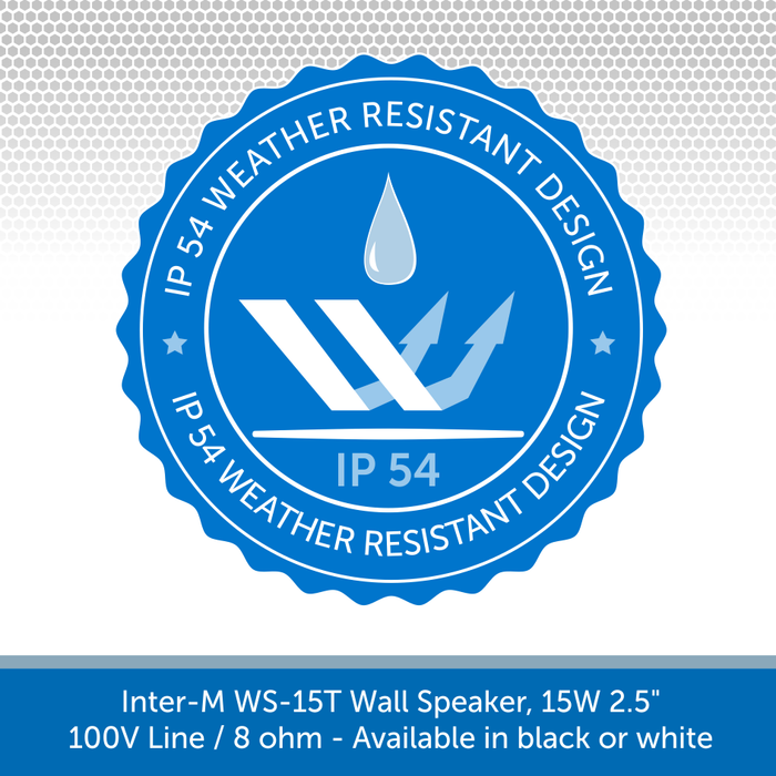 The Inter-M WS15T Compact Wall Speakers are IP54 Rated and can be used Outdoors