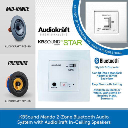 KBSound Mando 2-Zone Bluetooth Audio System with AudioKraft In-Ceiling Speakers