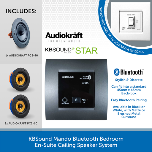 KBSound Mando Bluetooth Bedroom En-Suite Ceiling Speaker System