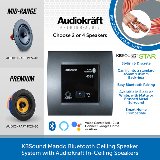 KBSound Mando Bluetooth Ceiling Speaker System with AudioKraft In-Ceiling Speakers