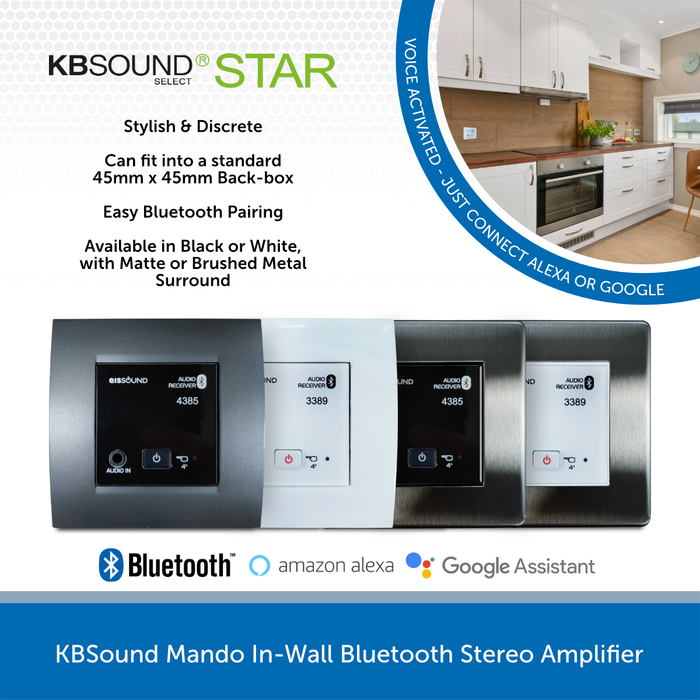 KBSound Mando In-Wall Bluetooth Stereo Amplifier
