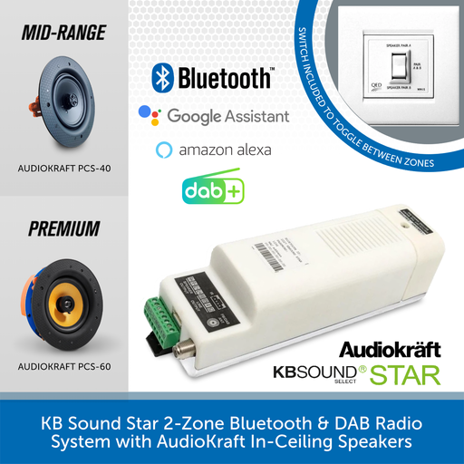 KB Sound Star 2-Zone Bluetooth & DAB Radio System with AudioKraft In-Ceiling Speakers