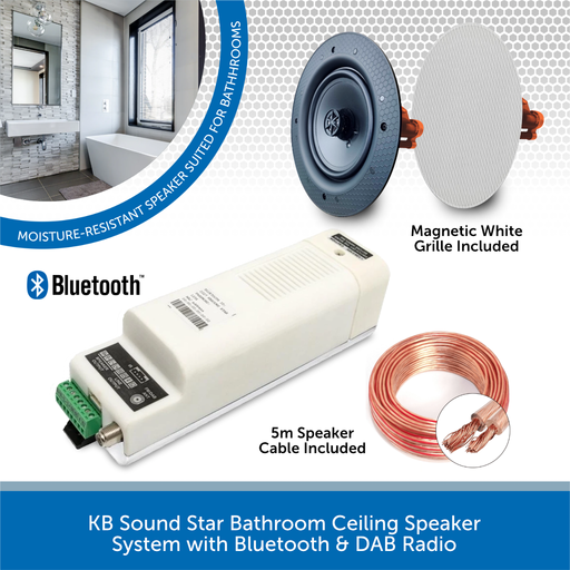 KB Sound Star Bathroom Ceiling Speaker System with Bluetooth & DAB Radio