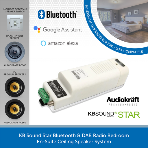 KB Sound Star Bedroom En-Suite Ceiling Speaker System with Bluetooth & DAB Radio