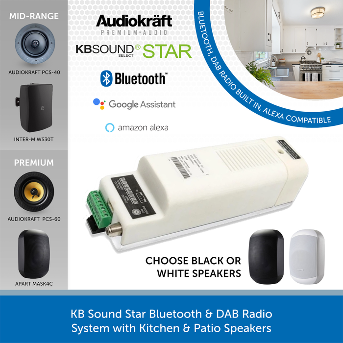 KB Sound Star Bluetooth & DAB Radio System with Kitchen & Patio Speakers