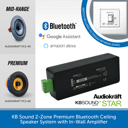 KB Sound 2-Zone Premium Bluetooth Ceiling Speaker System with In-Wall Amplifier
