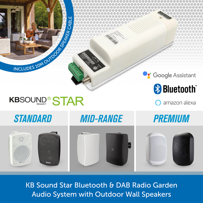 KB Sound Star Bluetooth & DAB Radio Garden Audio System with Outdoor Wall Speakers