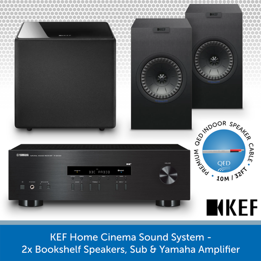 KEF Home Cinema Sound System - 2x Bookshelf Speakers, Sub & Yamaha Amplifier BLACK