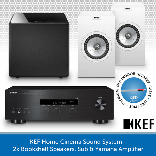 KEF Home Cinema Sound System - 2x Bookshelf Speakers, Sub & Yamaha Amplifier WHITE