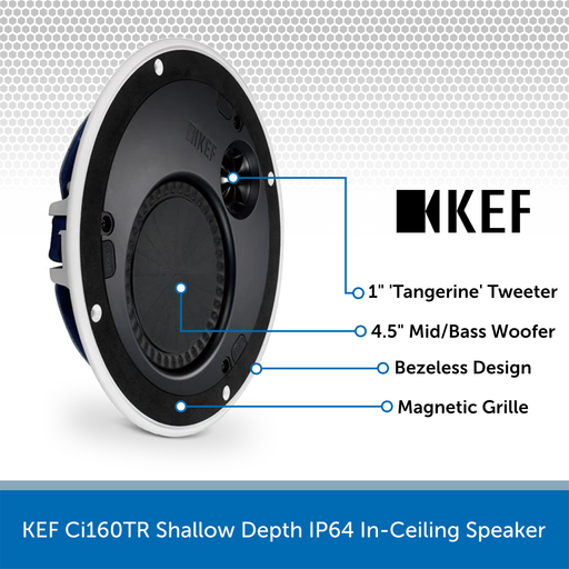 KEF Ci160TR Shallow Depth IP64 In-Ceiling Speaker