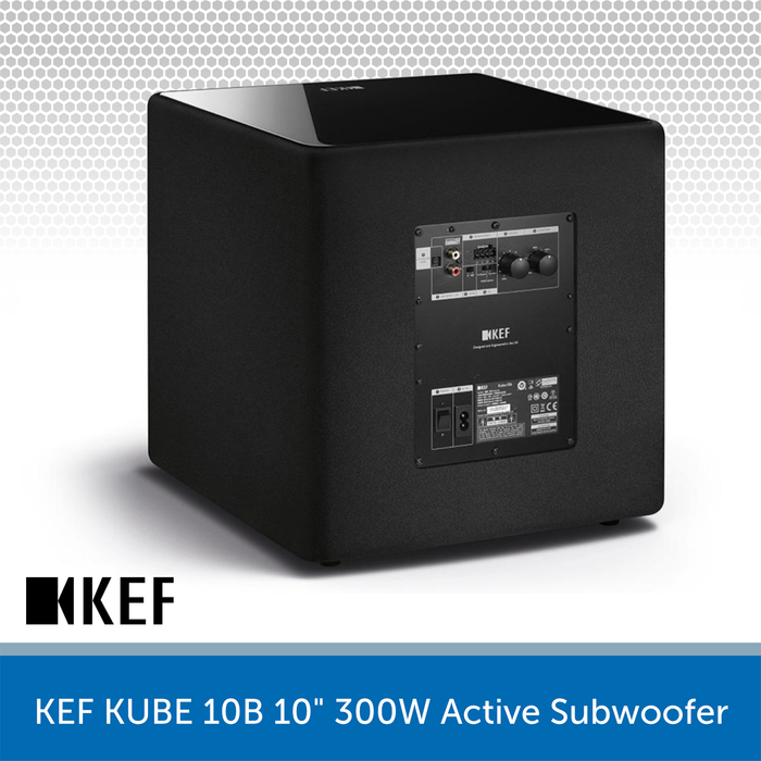 "KEF KUBE 10B - 10"" 300W Compact Active Subwoofer REAR"