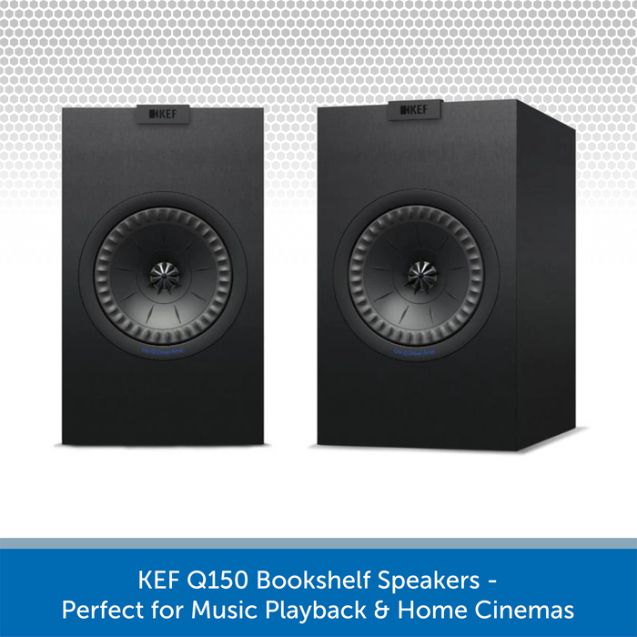 KEF Q150 100W Bookshelf Speaker Pair, 8 Ohms, Black