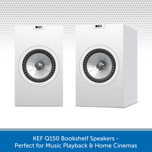 KEF Q150 100W Bookshelf Speaker Pair, 8 Ohms, White