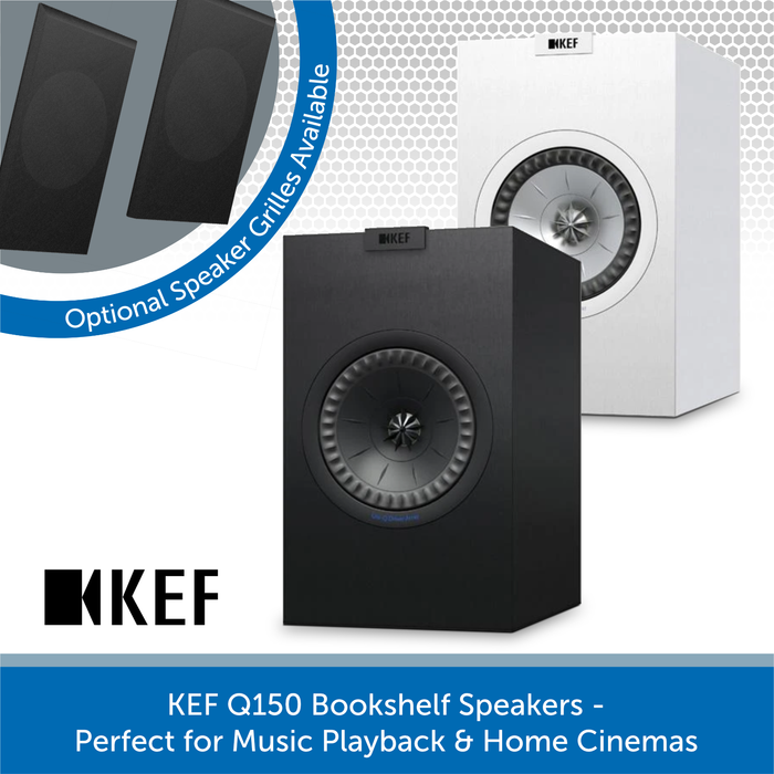 KEF Q150 100W Bookshelf Speaker Pair, 8 Ohms, Black or White