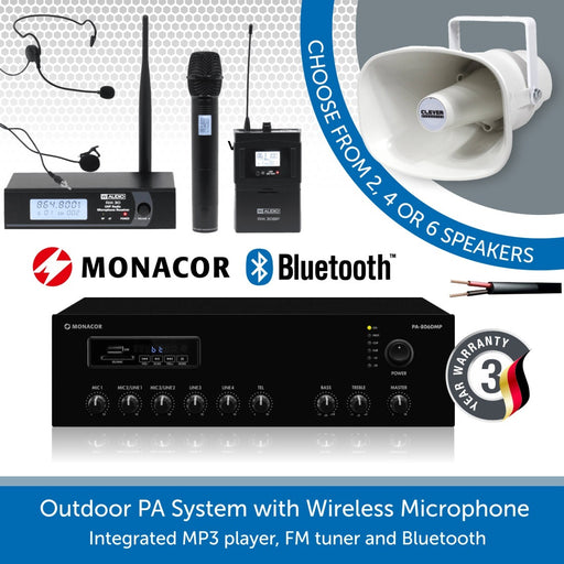 Outdoor PA Speaker System with Wireless Microphone and Weatherproof Horn Speakers
