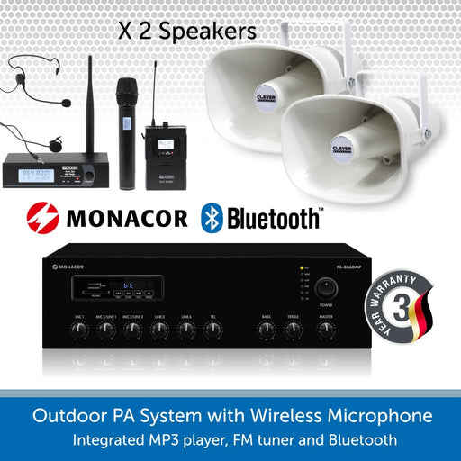 Outdoor PA Speaker Kit with Two Weatherproof Horn Speakers & Wireless Mic