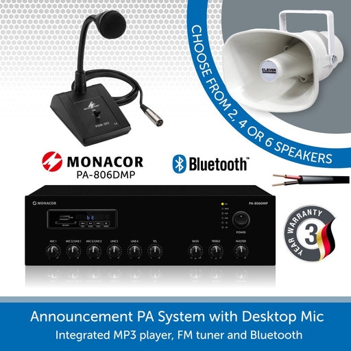 Public Address Speaker System with Desktop Paging Microphone and Horn Speakers