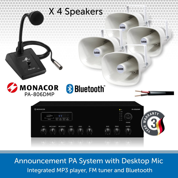 Public Address System with 4 Weatherproof Horn Speakers and Desktop Microphone