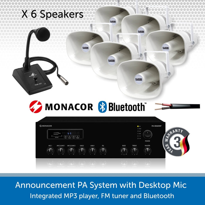 Public Address System with 6 Weatherproof Horn Speakers and Desktop Microphone