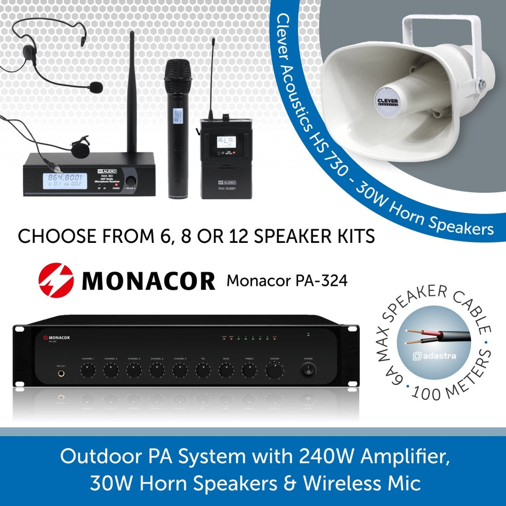 Public Address Speaker Kit with 240W Amplifier, 30W Horn Speakers and Wireless Mic
