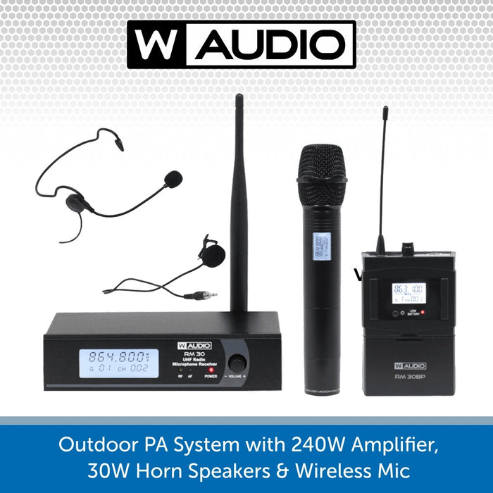 Public Address Speaker Kit with 240W Amplifier, 30W Horn Speakers & Wireless Mic
