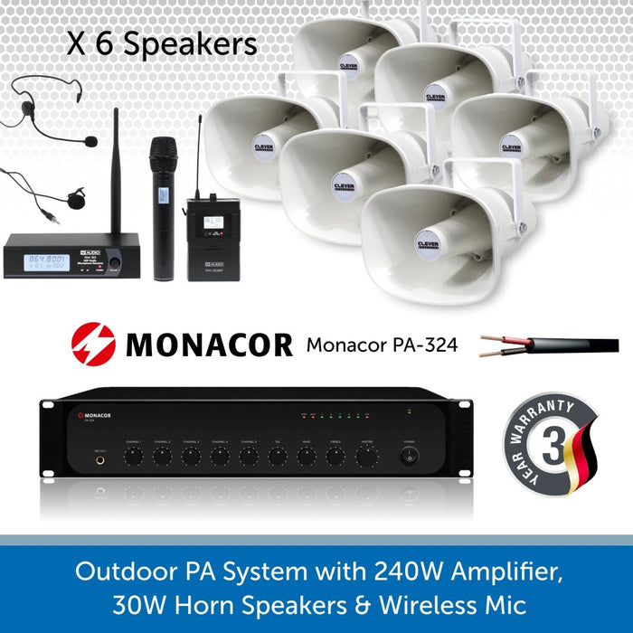 6 Speaker Public Address System with 240W Amp and wireless Mic