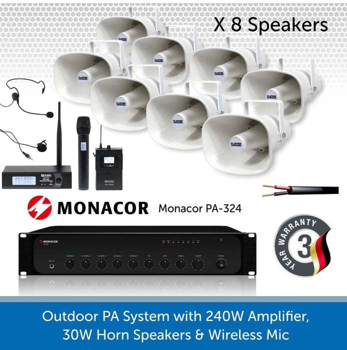 8 Speaker Public Address System with 240W Amp and wireless Mic