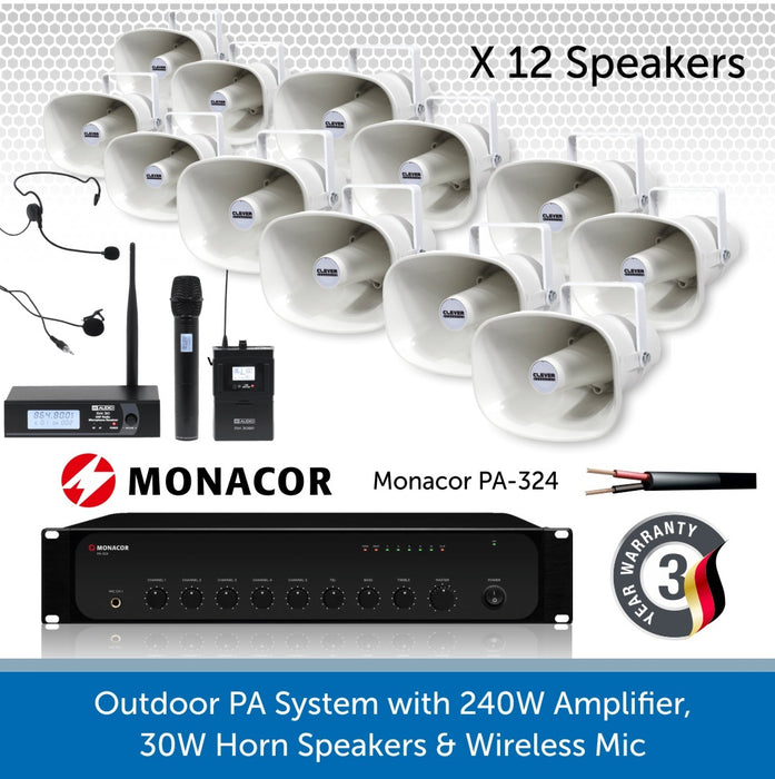 12 Speaker Public Address System with 240W Amp and wireless Mic
