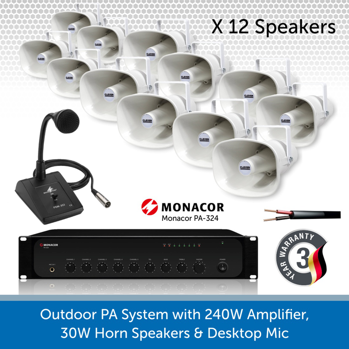 Public Address Speaker Kit with 240W Amplifier, 12 x 30W Horn Speakers, and desktop Mic