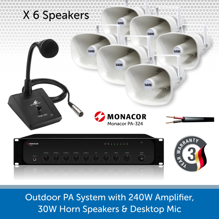 Public Address Speaker Kit with 240W Amplifier, 6 x 30W Horn Speakers, and desktop Mic