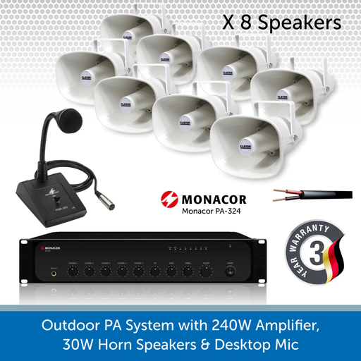 Public Address Speaker Kit with 240W Amplifier, 8 x 30W Horn Speakers, and desktop Mic