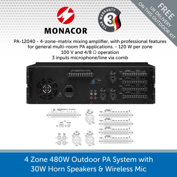4-Zone 480W Outdoor PA System with 30W Horn Speakers & Wireless Microphone