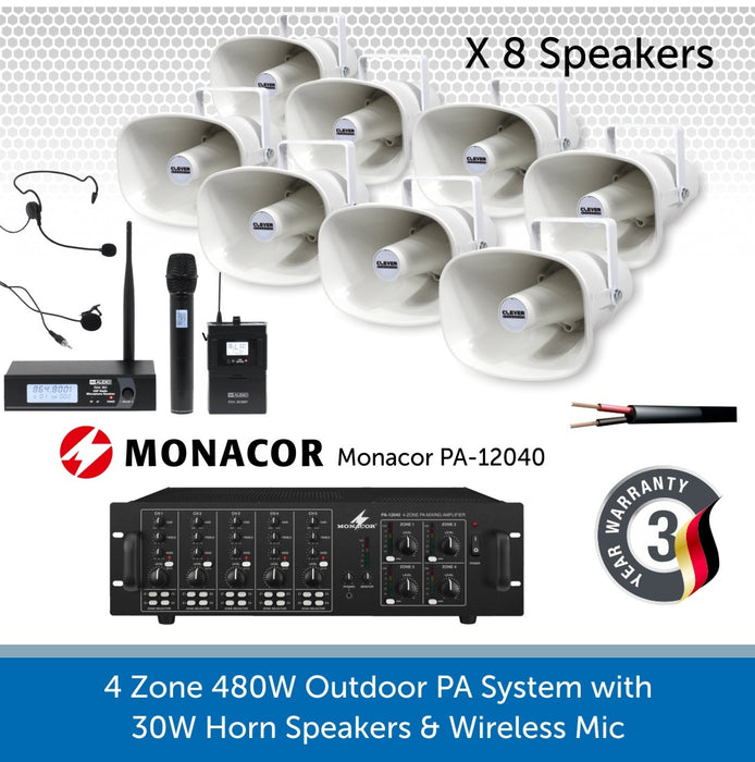 8 Speaker 4-Zone Outdoor PA System with Wireless Microphone