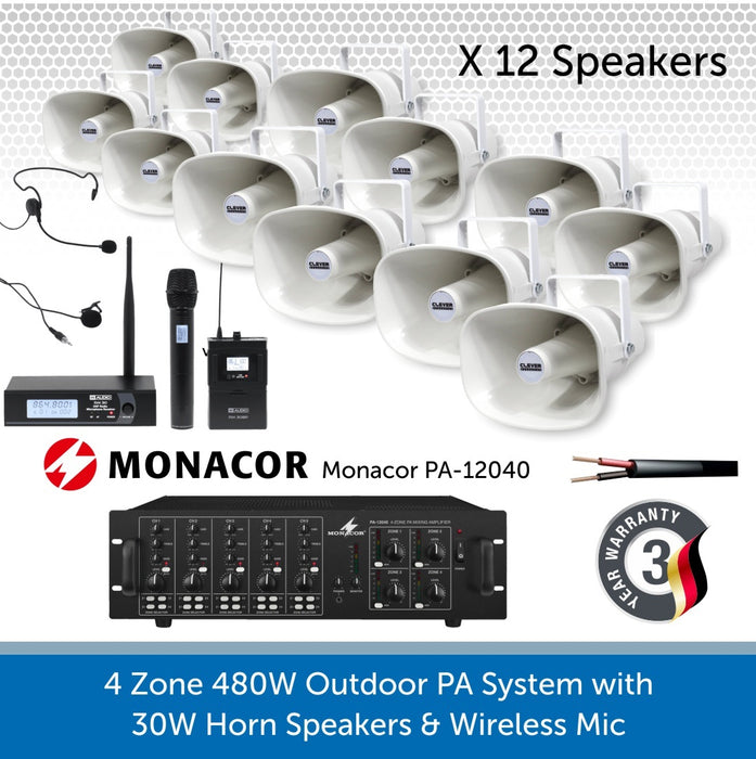 12 Speaker 4-Zone Outdoor PA System with Wireless Microphone