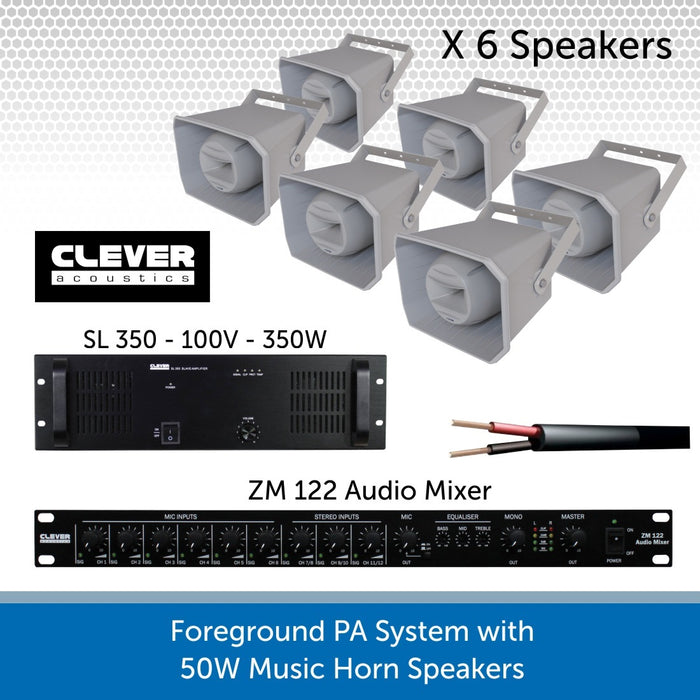 Complete Foreground PA Speaker System with Six 50W Music Horn Speakers