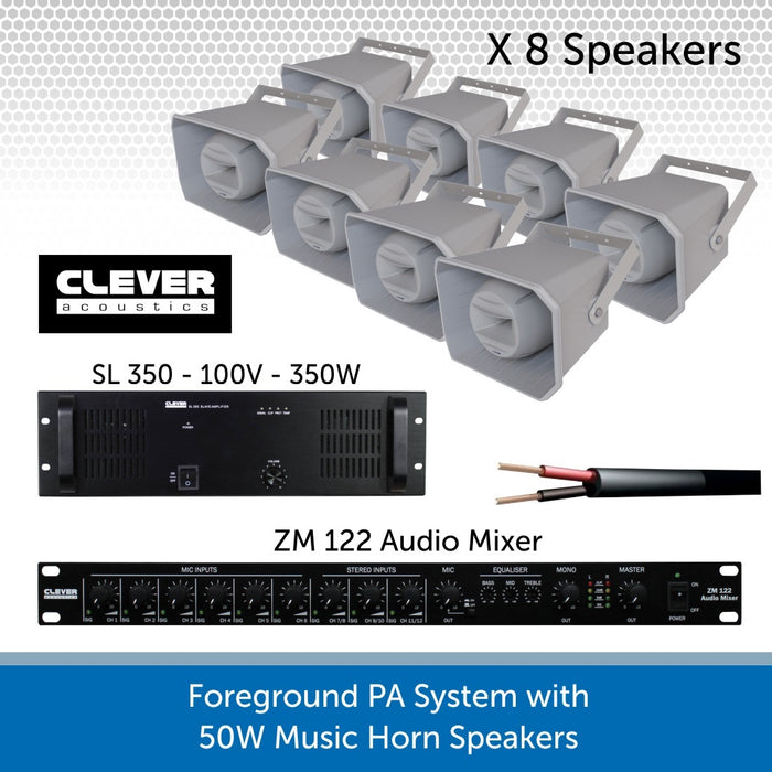Complete Foreground PA Speaker System with Eight 50W Music Horn Speakers