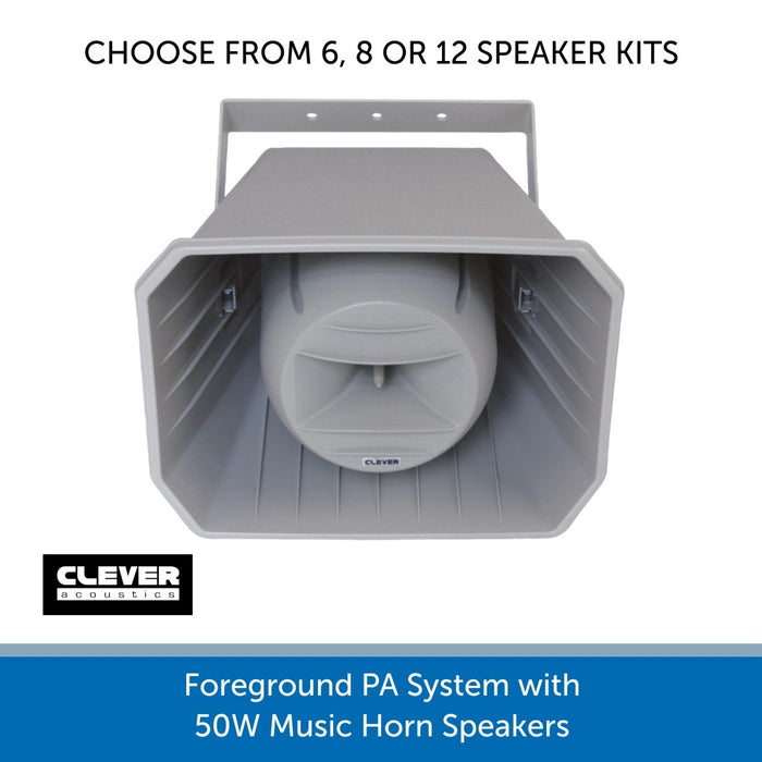 Foreground PA System with 50W Music Horn Speakers - 6, 8 or 12 Speakers