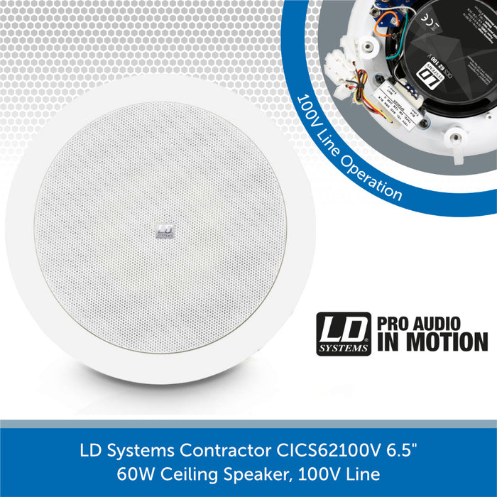 "LD Systems Contractor CICS62100V 6.5"" 60W Ceiling Speaker, 100V Line"