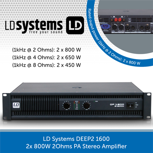 LD Systems DEEP2 1600 2x 800W 2Ohms PA Stereo Amplifier