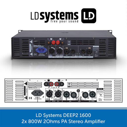 LD Systems DEEP2 1600 2x 800W 2Ohms PA Stereo Amplifier REAR