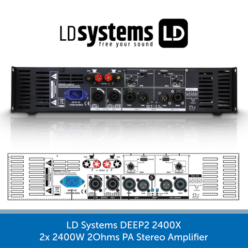 LD Systems DEEP2 2400X 2x 1200W 2Ohms PA Stereo Amplifier REAR