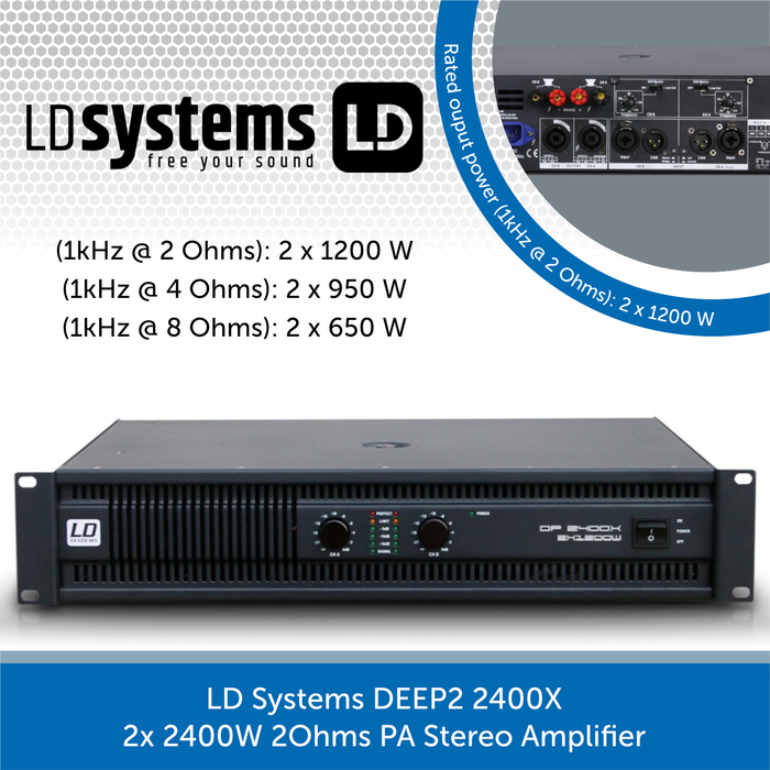 LD Systems DEEP2 2400X 2x 1200W 2Ohms PA Stereo Amplifier