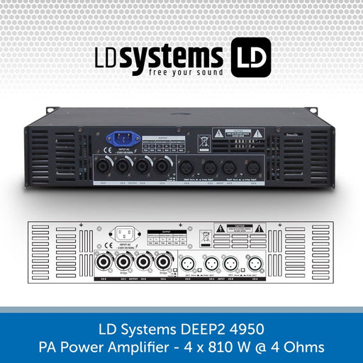 LD Systems DEEP2 4950 PA Power Amplifier 4 x 810 W 4 Ohms