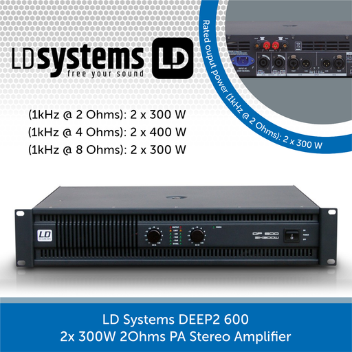 LD Systems DEEP2 600 2x 300W 2Ohms PA Stereo Amplifier