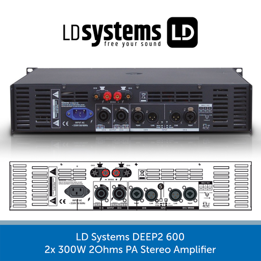 LD Systems DEEP2 600 2x 300W 2Ohms PA Stereo Amplifier REAR
